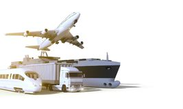 Снабжение и транспорт, тележка, быстроходный поезд, шлюпка и самолет на предпосылке изолята Стоковые Фото