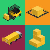 Снабжение поставки и установленные значки транспорта Стоковые Изображения RF