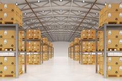 Снабжение склада распределения, пересылка пакета, транспорт перевозки и концепция поставки Стоковые Фото