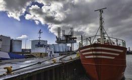 Снаряжение бурения в море в гавани Esbjerg, Дании Стоковые Изображения RF