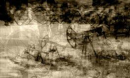 Снаряжение на предпосылке долларов и фото графика черный & белых, двойной экспозиции Стоковые Фото