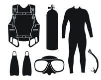 Снаряжение для подводного плавания - силуэт Стоковое Фото