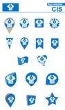 СНГ собрание флага Большой набор для дизайна иллюстрация штока