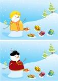 снеговики рождества знамен Стоковые Фото