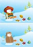 снеговики рождества знамен Стоковое Изображение