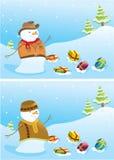 снеговики рождества знамен Стоковые Фотографии RF