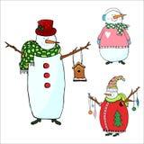 Снеговики установленные на белую предпосылку, изолированный снеговик для рождества иллюстрация вектора