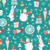 снеговики cream rabb картины льда безшовные Стоковые Изображения RF