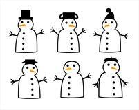 6 снеговиков Стоковая Фотография