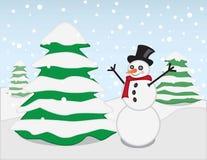 Снеговик вектора в ландшафте Snowy Стоковые Изображения