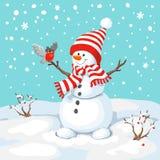 Снеговик вектора с птицей Стоковая Фотография