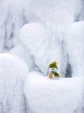 Снеговик в зеленых шляпе и шарфе Стоковая Фотография