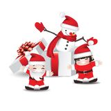 Снеговик в подарочной коробке и детях стоковые изображения rf