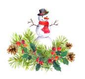 Снеговик, ель, омела рождества акварель Стоковое Изображение RF