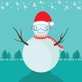 Снеговик зимы и с Рождеством Христовым иллюстрация штока