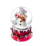 Снеговик игрушки рождества в стеклянном изолированном шарике Стоковые Изображения RF