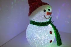 Снеговик игрушки с пестротканым освещением Новый Год украшения рождества Стоковые Изображения