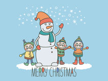 Снеговик и дети Стоковые Фотографии RF
