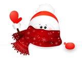 Снеговик и знак рождества милый пушка командира шаржа его секундомер воина иллюстрации Стоковое Изображение RF