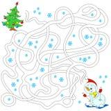Снеговик и рождественская елка Лабиринт для детей воспитательные игры Найдите путь также вектор иллюстрации притяжки corel Стоковые Фото