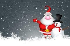Снеговик и Санта Клаус иллюстрация вектора