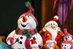 Снеговик и Санта Клаус Стоковая Фотография RF