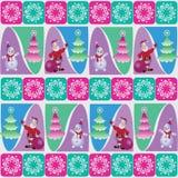 Снеговик и Санта около рождественской елки иллюстрация вектора