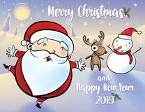 Снеговик и северный олень Санта Клауса иллюстрация вектора