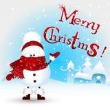 Снеговик и текст рождества младенца с Рождеством Христовым! Поздравительная открытка рождества пушка командира шаржа его секундом Стоковая Фотография RF