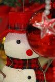 Снеговик и шарик цвета, украшения рождества орнаментов Стоковая Фотография