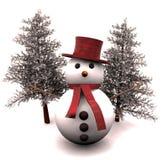 снеговик и snow-covered валы - 3D Стоковая Фотография RF