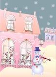 Снеговик карточки Violinis и коты Стоковое Изображение