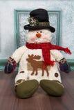 снеговик красивейшей открытки ландшафта иллюстрации праздника шлема рождества готовый для использования зимы Стоковое фото RF