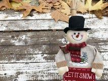 Снеговик Кристмас с шарфом Стоковые Изображения