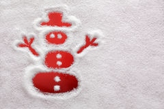 Снеговик нарисованный в снежке Стоковое фото RF
