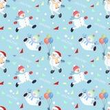 Снеговик на картине праздника безшовной бесплатная иллюстрация