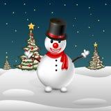 Снеговик на предпосылке деревьев Стоковые Изображения