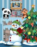 Снеговик нося зеленую головную крышку и шарф играя саксофон с иллюстрацией вектора места рождественской елки и огня Стоковые Изображения
