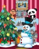 Снеговик нося шляпу и голубой шарф играя саксофон с иллюстрацией места рождественской елки и огня Стоковое фото RF