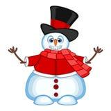 Снеговик нося шляпу, красный свитер и красный шарф развевая его рука для вашей иллюстрации вектора дизайна Стоковые Изображения