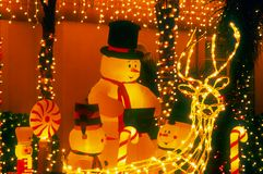 снеговик ночи семьи Стоковые Фотографии RF