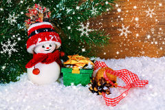 снеговик подарков рождества предпосылки Стоковые Фото