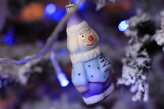 Снеговик рождества в ретро типе Стоковые Изображения RF