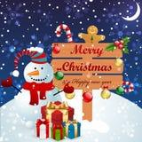 снеговик рождества предпосылки Стоковое Фото
