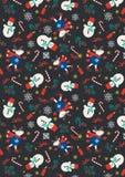 Снеговик рождества с кроликом в темной печати предпосылки иллюстрация вектора