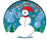 Снеговик рождество веселое кругло иллюстрация вектора