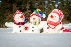 снеговик семьи счастливый Стоковая Фотография