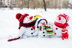 снеговик семьи счастливый Стоковое Фото