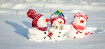 снеговик семьи счастливый Стоковые Изображения RF