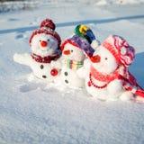 снеговик семьи счастливый Стоковые Изображения
